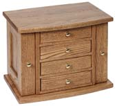 4 Drawer Jewlery Chest with Round Front Lid & Base