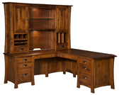 Arts & Crafts L Shaped Desk with Hutch