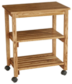 Microwave/Serving Cart with Slatted Shelves