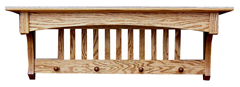 "36"" Oak Deluxe Mission Shelf with Hook or Peg Option"
