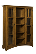 "72"" Mission Display Bookcase with Drawers"