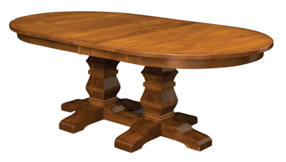 Double pedestal style table base Amish Furniture Factory