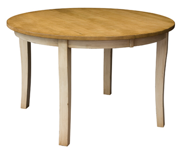 A round dining table with slightly curved legs adds an inviting country look to any dining space Amish Furniture Factory