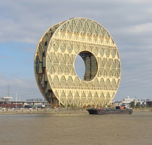 The Guangzhou Circle building looks like a donut standing up..