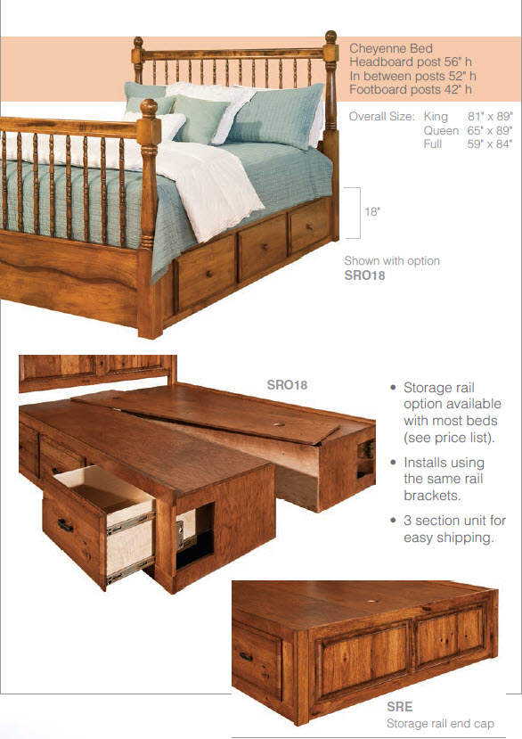 Add a Storage Rail to Your Amish Bed for Increased Storage Space