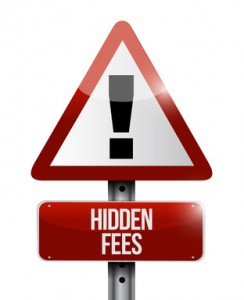 hidden fees warning sign illustration design
