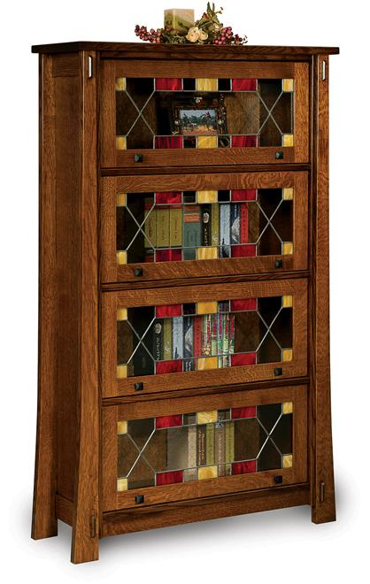 Modesto 4-Door Barrister Bookcase with Leaded Glass