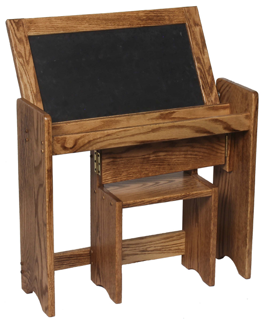 Kid's Folding Desk with Chalk Board, Dry Erase Board, and Attached Chair