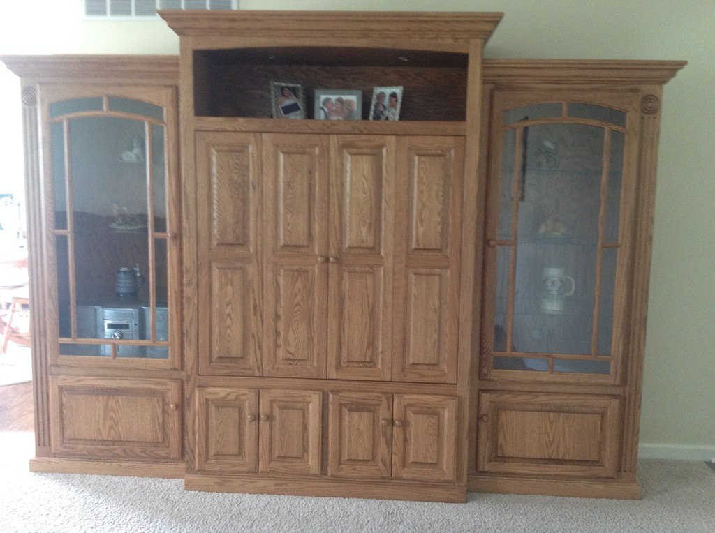 Victorian TV Wall Unit in oak with bawood stain from Amish Furniture Factory