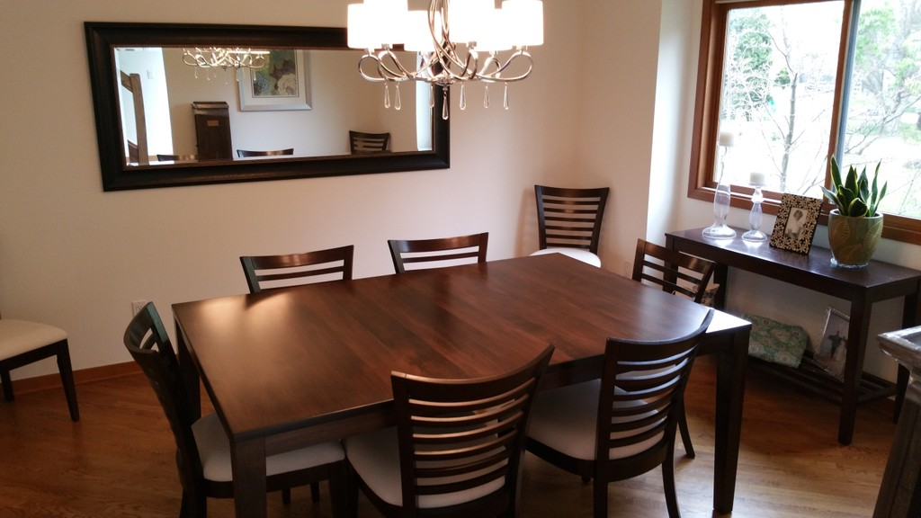 Carson Legged Table from Amish Furniture Factory in a Traditional Classic Enclosed Dining Room in browns and creams