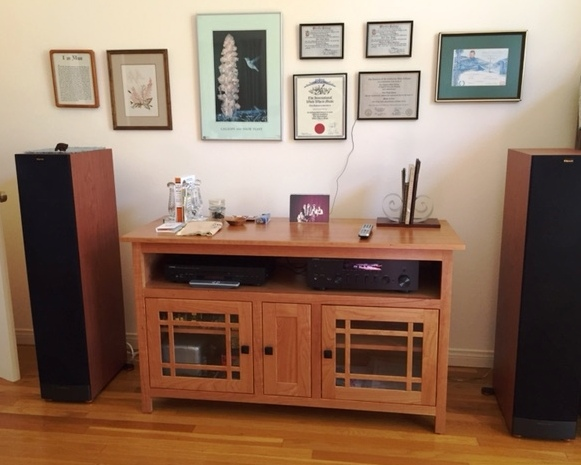 This Mission 3053 53'' TV Stand is being used not as a TV stand but as a sound system center with the homeowner's own floor model speakers on either side