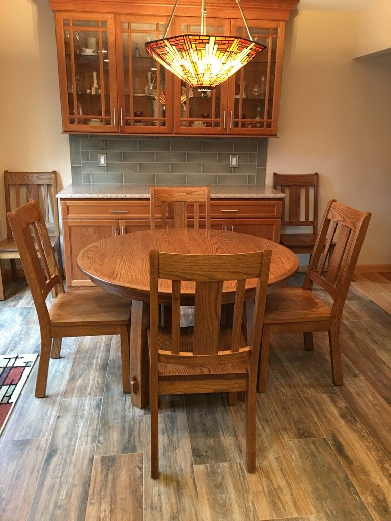 Brookville Dining Table and Chairs in Oak with Sealy Stain from Amish Furniture Factory