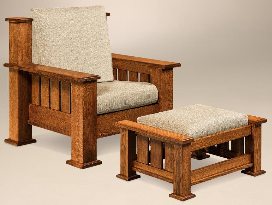 The Bunyan Living Room Chair and Foot Stool from Amish Furniture Factory