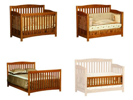 Four forms of the Monterey Convertible Crib: crib, toddler bed, toddler bed with rail, and child bed