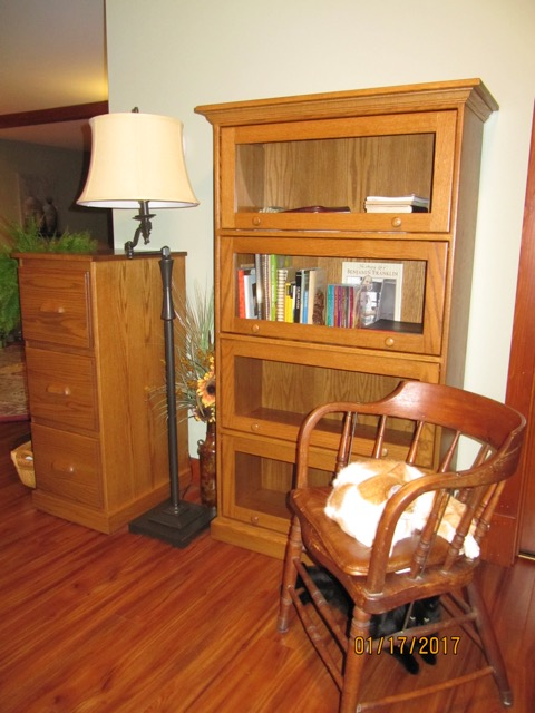The Traditional Barrister Bookcase in oak with Sealy stain from Amish Furniture Factory—This customer chose four doors