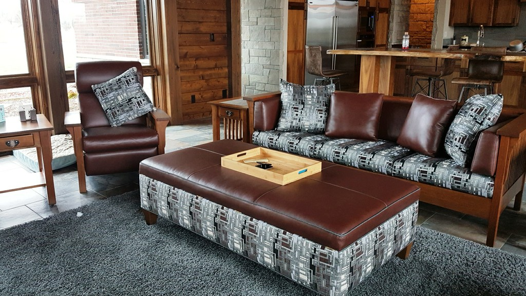 This eclectic living room set mixes cherry wood and Tawny stain with Pecan leather and Terry upholstery (link to the Cubic Slat Sofa) — Amish Furniture Factory