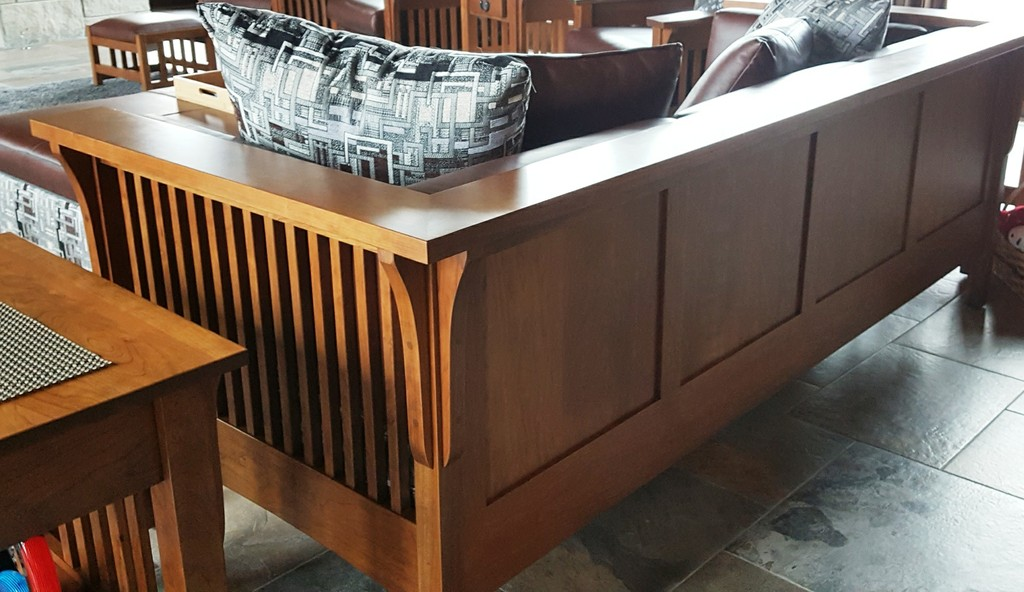 Brenda customized her Cubic Slat Sofa to have a paneled back—Amish Furniture Factory