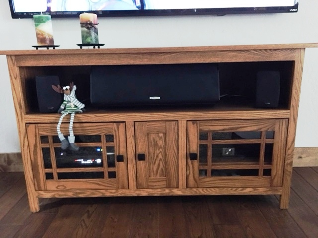 This Amish Mission 3053 - 53 inch Flat Panel TV Stand has a custom height. It's in oak with Malaguania stain