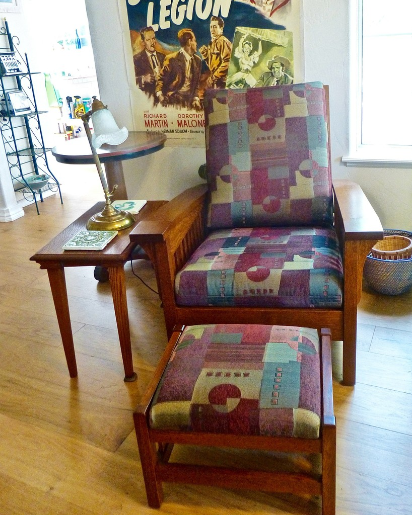The Clearspring Slat Morris Chair and Foot Stool from Amish Furniture Factory