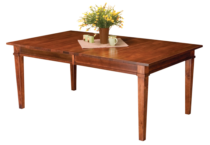 The Ethan Leg Table has an optional fifth leg so it can accept 3 or 4 leaves and up to 12 people