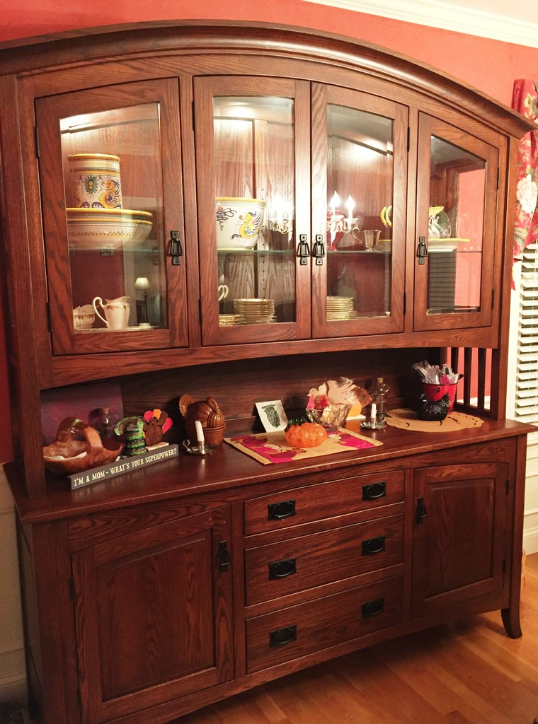 The Cambria Hutch in oak with Old World Mission stain from Amish Furniture Factory