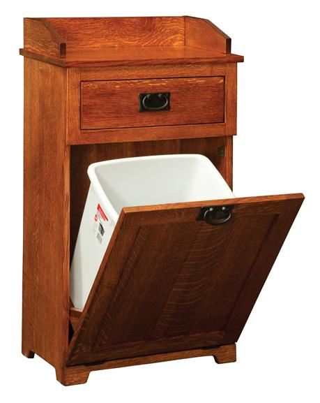 Mission Tilt Out Trash Bin with Top Drawer from Amish Furniture Factory