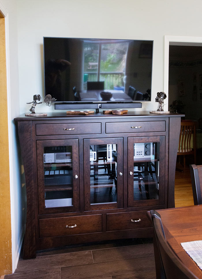 This HC Arts & Crafts High Buffet has customizations that turn it into an entertainment center—Amish Furniture Factory