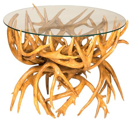 """Amish Antler End Table with 24"""" Round Glass Top"""