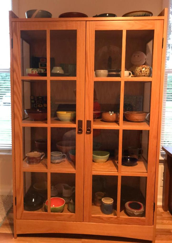 Prarie Mission Curio Cabinet in oak with wheat stain from Amish Furniture Factory