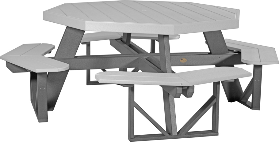 Poly Vinyl Octagon Picnic Table in dove gray and slate from Amish Furniture Factory