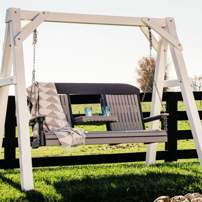 5' Classic Highback Poly Vinyl Swing in dove gray and black from Amish Furniture Factory