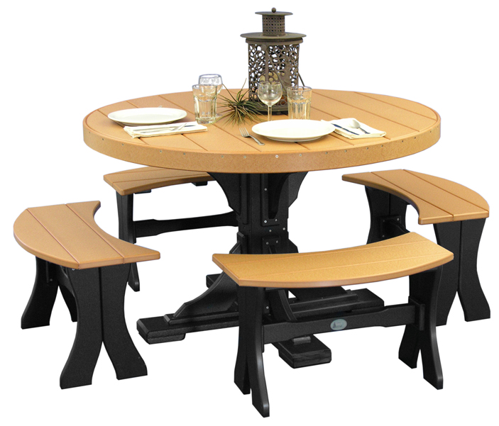 Poly Vinyl 4' Round Table Set Number 2 in cedar and black from Amish Furniture Factory