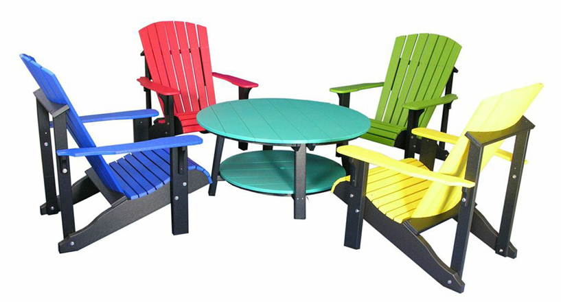 Four colorful chairs around a Poly Vinyl Deluxe Conversation Table