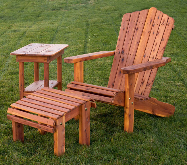 "20"" Adirondack Lounge Chair with matching ottoman and side table from Amish Furniture Factory"