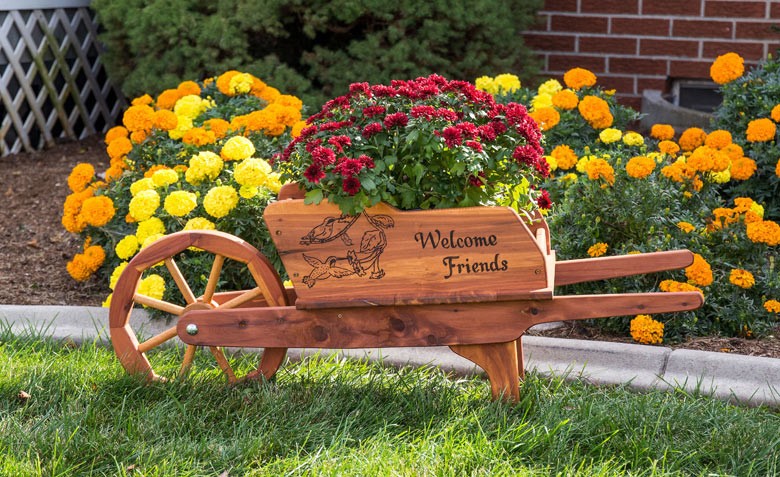 Wheelbarrow Planter in aromatic red cedar from Amish Furniture Factory