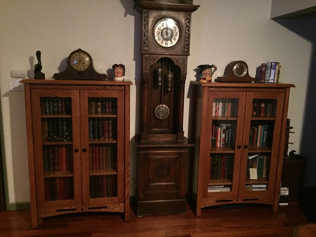 Two Bel Aire Bookcases in oak with Copper stain from Amish Furniture Factory