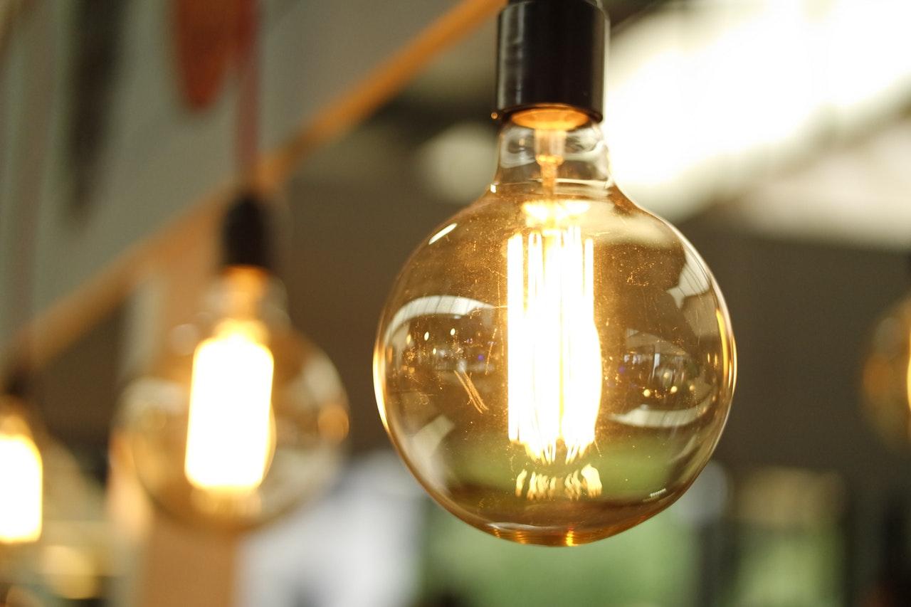 Round hanging light bulbs