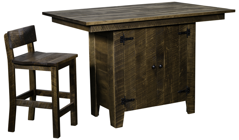 The Moss Hill Kitchen Island and Bar Chair from Amish Furniture Factory