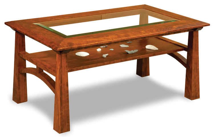 The Artesa Glass Top Coffee Table with Shelf doesn't have a door, but it has a great bevel.—Amish Furniture Factory