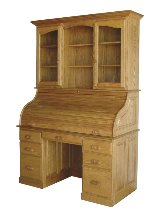 "The Heirloom 56"" Rolltop Desk with Flat Sides and a hutch from Amish Furniture Factory"