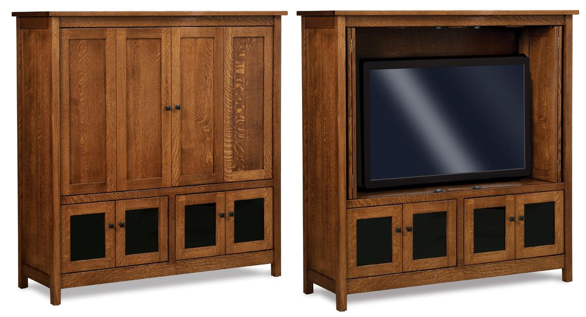 "The Centennial 57"" TV Cabinet with bi-fold pocket doors from Amish Furniture Factory"