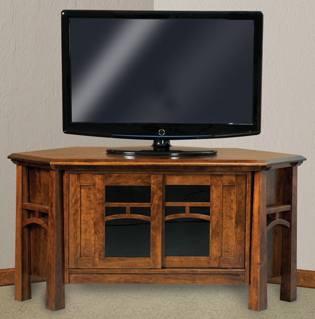 The Artesa 2 Door Corner TV Stand from Amish Furniture Factory