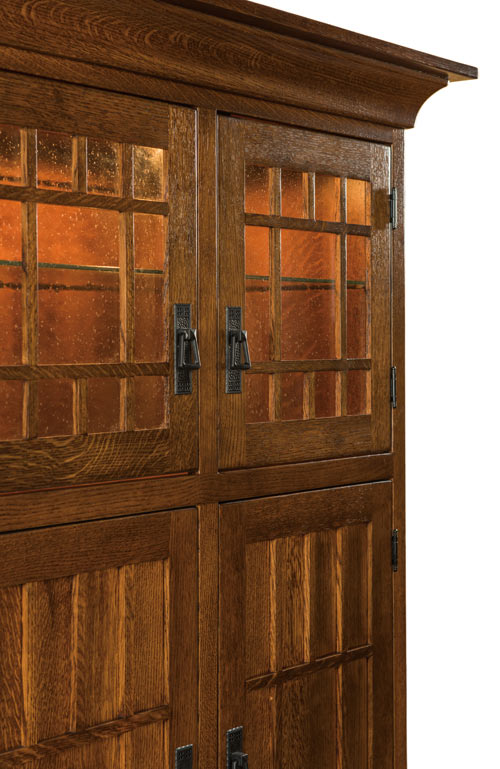 The Norwest Mission Pantry Cabinet has mullions on its lower reverse panel doors to match the mullions on its glass upper doors. From Amish Furniture Factory