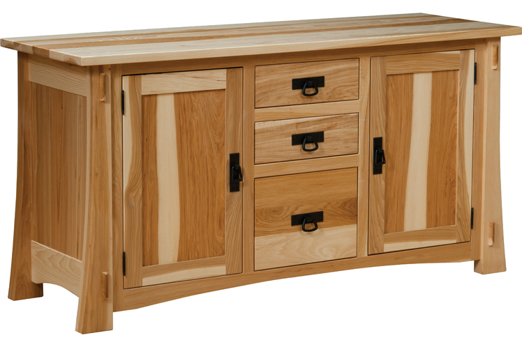 The Modesto 60'' Credenza in hickory with natural finish from Amish Furniture Factory