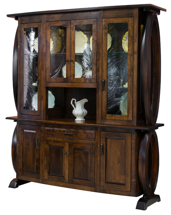 The Saratoga 4 Door Hutch in brown maple with Earthtone stain from Amish Furniture Factory