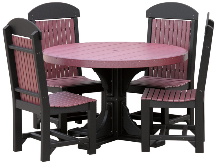 Poly Vinyl 4-foot Round Table Set 1 in purple and black