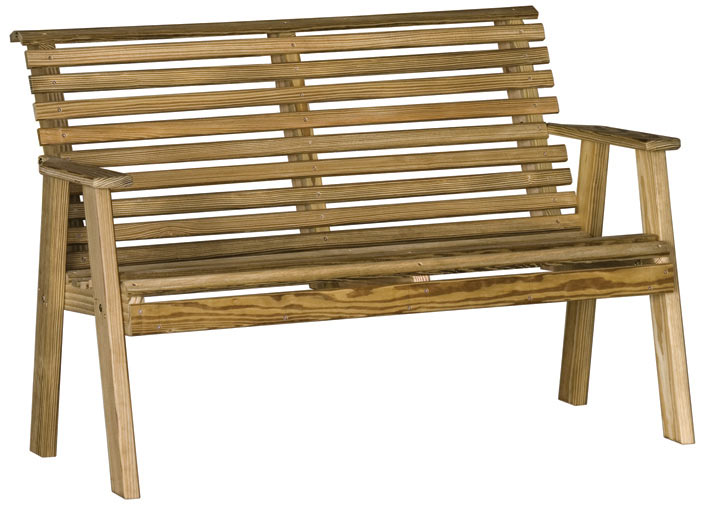 The 4' Plain Pinewood Bench from Amish Furniture Factory