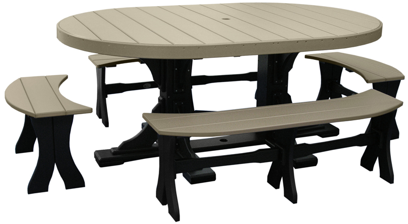 Poly Vinyl 4'x6' Oval Table Set Number 3 from Amish Furniture Factory