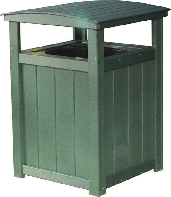 Handcrafted poly vinyl trash can in green from Amish Furniture Factory