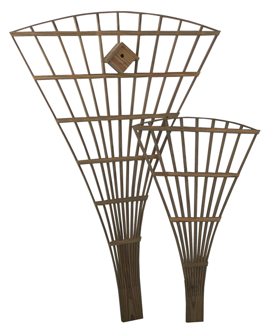 This Amish fan trellis is handcrafted from one piece of wood.